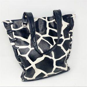 🐝Giannini Giraffe Print Shoulder Bag Purse Handbag Animal Print Faux Leather